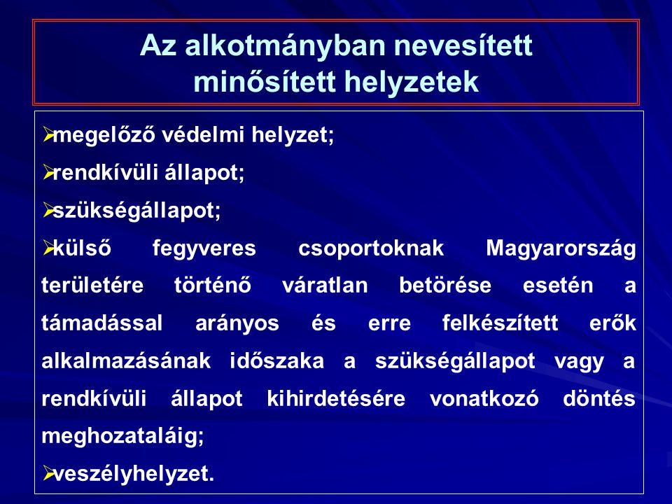 Az alkotmányban nevesített minősített helyzetek  megelőző védelmi helyzet;  rendkívüli állapot;  szükségállapot;  külső fegyveres csoportoknak Magyarország területére történő váratlan betörése esetén a támadással arányos és erre felkészített erők alkalmazásának időszaka a szükségállapot vagy a rendkívüli állapot kihirdetésére vonatkozó döntés meghozataláig;  veszélyhelyzet.