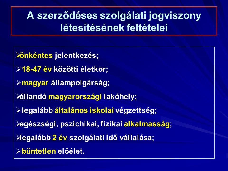 A szerződéses szolgálati jogviszony létesítésének feltételei  önkéntes jelentkezés;  18-47 év közötti életkor;  magyar állampolgárság;  állandó magyarországi lakóhely;  legalább általános iskolai végzettség;  egészségi, pszichikai, fizikai alkalmasság;  legalább 2 év szolgálati idő vállalása;  büntetlen előélet.