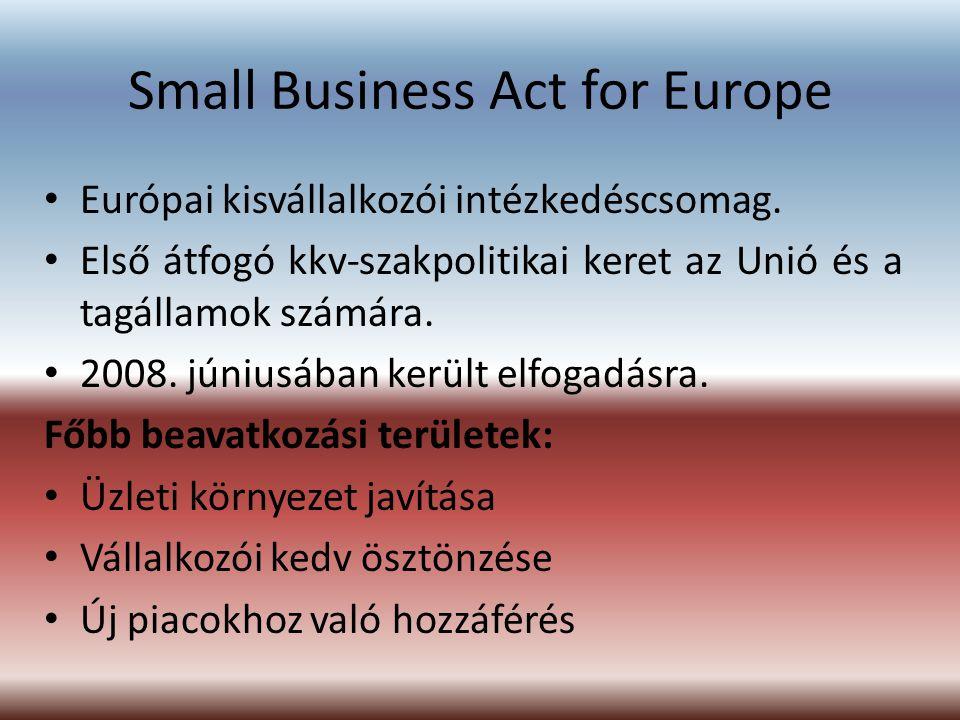 Small Business Act for Europe Európai kisvállalkozói intézkedéscsomag. Első átfogó kkv-szakpolitikai keret az Unió és a tagállamok számára. 2008. júni