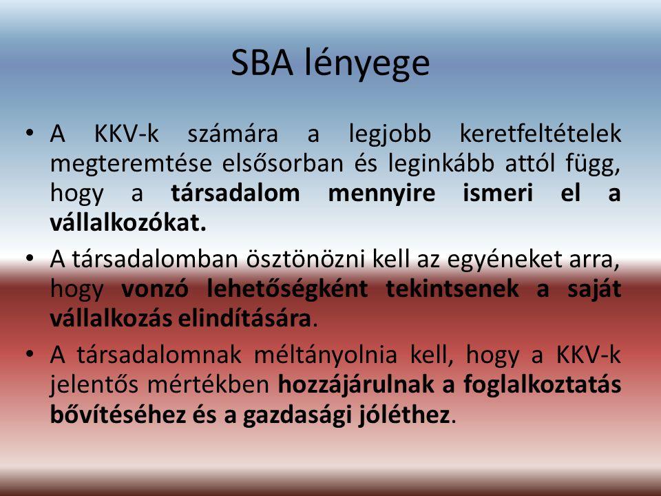 SBA lényege A KKV-k számára a legjobb keretfeltételek megteremtése elsősorban és leginkább attól függ, hogy a társadalom mennyire ismeri el a vállalko