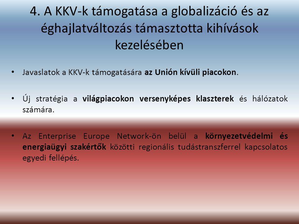 4. A KKV-k támogatása a globalizáció és az éghajlatváltozás támasztotta kihívások kezelésében Javaslatok a KKV-k támogatására az Unión kívüli piacokon