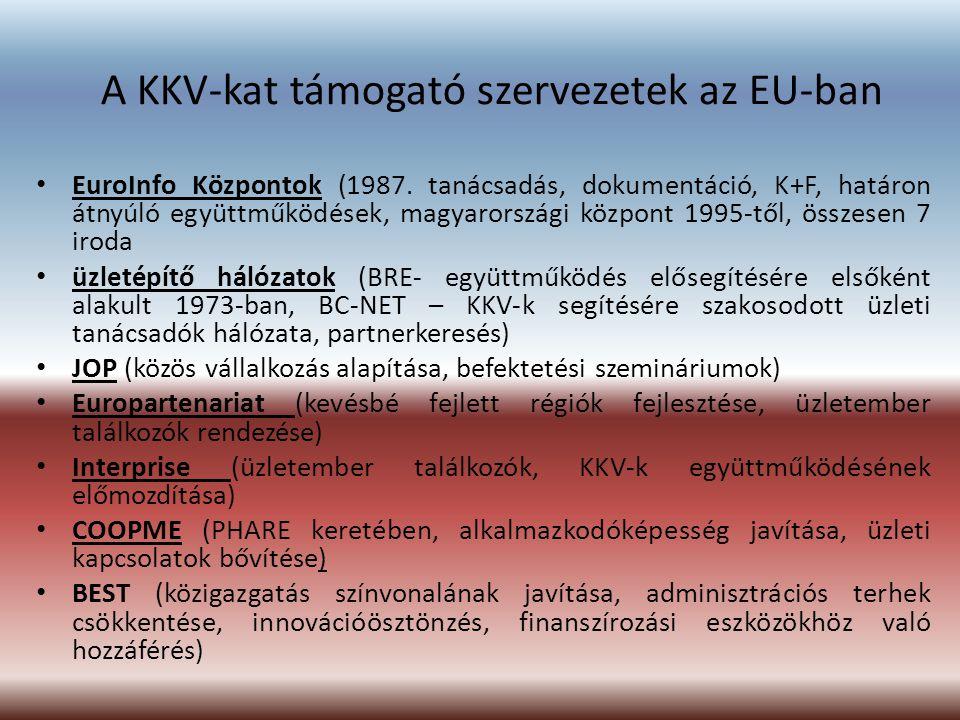 A KKV-kat támogató szervezetek az EU-ban EuroInfo Központok (1987. tanácsadás, dokumentáció, K+F, határon átnyúló együttműködések, magyarországi közpo