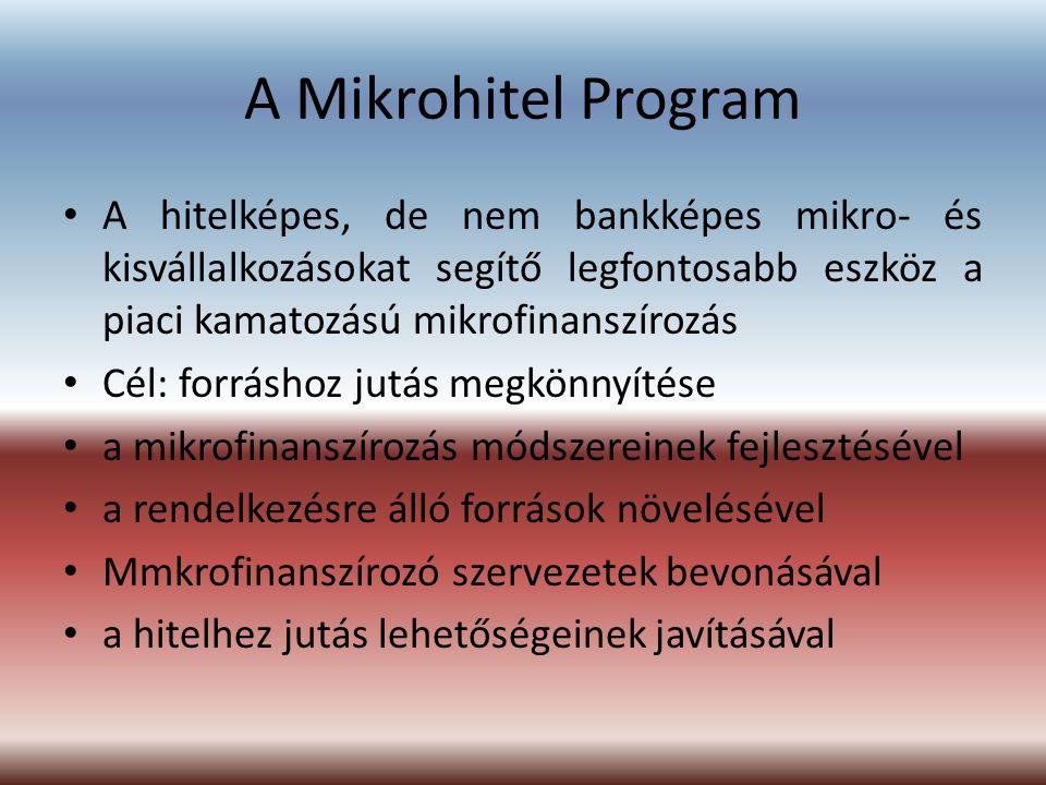 A Mikrohitel Program A hitelképes, de nem bankképes mikro- és kisvállalkozásokat segítő legfontosabb eszköz a piaci kamatozású mikrofinanszírozás Cél: