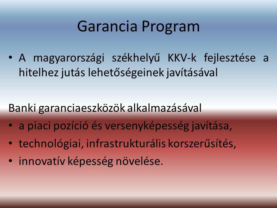 Garancia Program A magyarországi székhelyű KKV-k fejlesztése a hitelhez jutás lehetőségeinek javításával Banki garanciaeszközök alkalmazásával a piaci