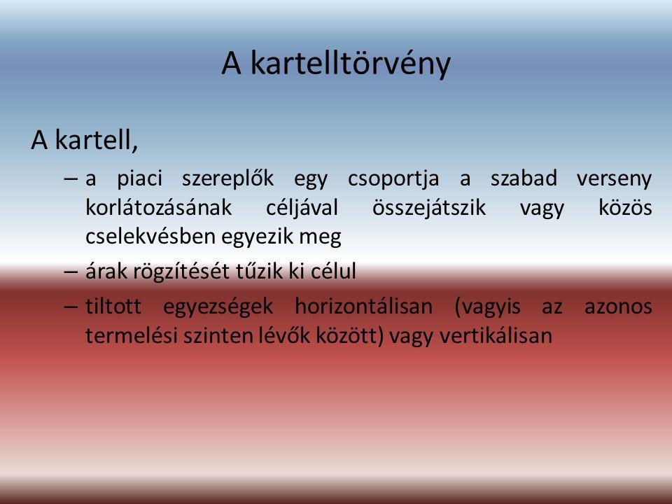 A kartelltörvény A kartell, – a piaci szereplők egy csoportja a szabad verseny korlátozásának céljával összejátszik vagy közös cselekvésben egyezik me