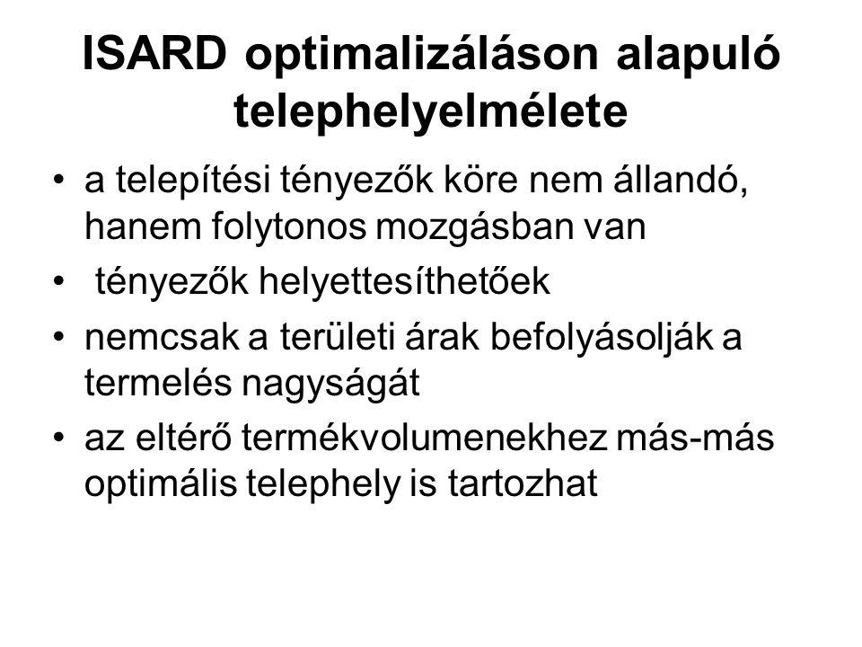 ISARD optimalizáláson alapuló telephelyelmélete a telepítési tényezők köre nem állandó, hanem folytonos mozgásban van tényezők helyettesíthetőek nemcs
