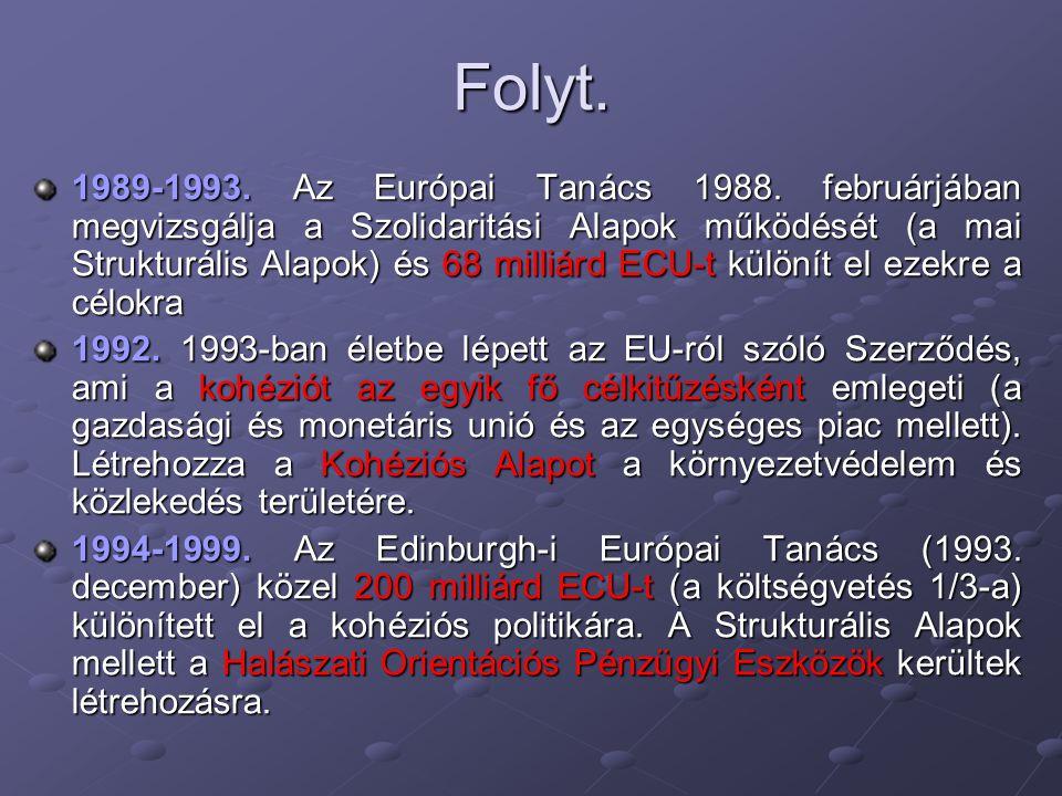 Folyt. 1989-1993. Az Európai Tanács 1988. februárjában megvizsgálja a Szolidaritási Alapok működését (a mai Strukturális Alapok) és 68 milliárd ECU-t