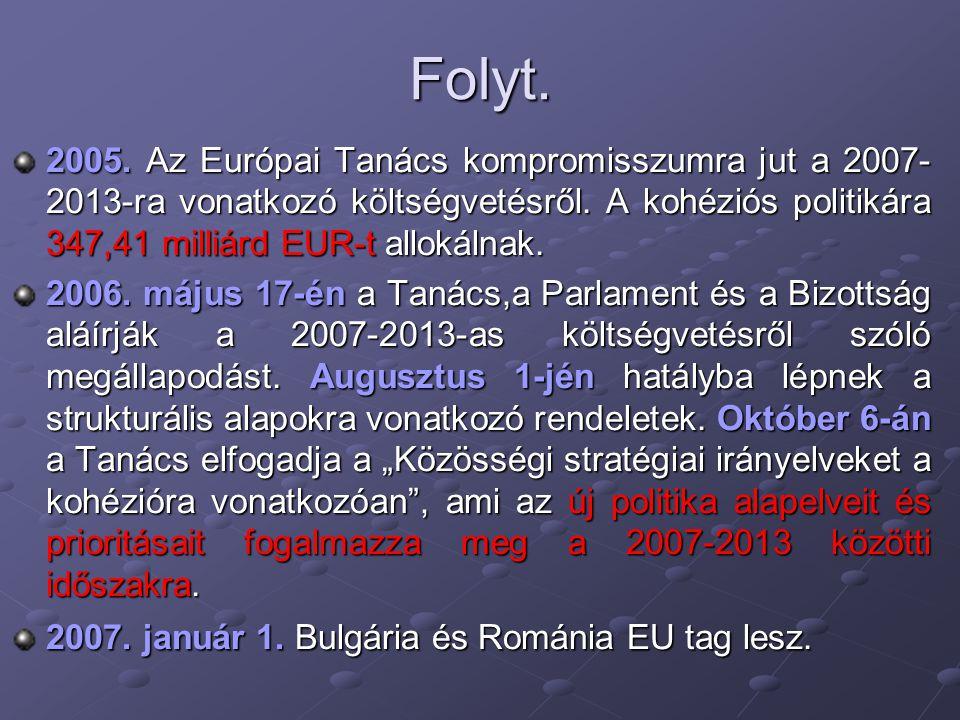 Folyt. 2005. Az Európai Tanács kompromisszumra jut a 2007- 2013-ra vonatkozó költségvetésről. A kohéziós politikára 347,41 milliárd EUR-t allokálnak.