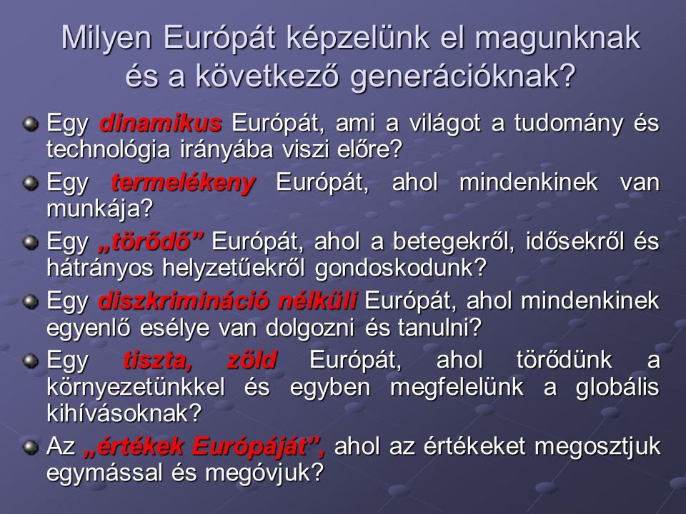 Milyen Európát képzelünk el magunknak és a következő generációknak? Egy dinamikus Európát, ami a világot a tudomány és technológia irányába viszi előr