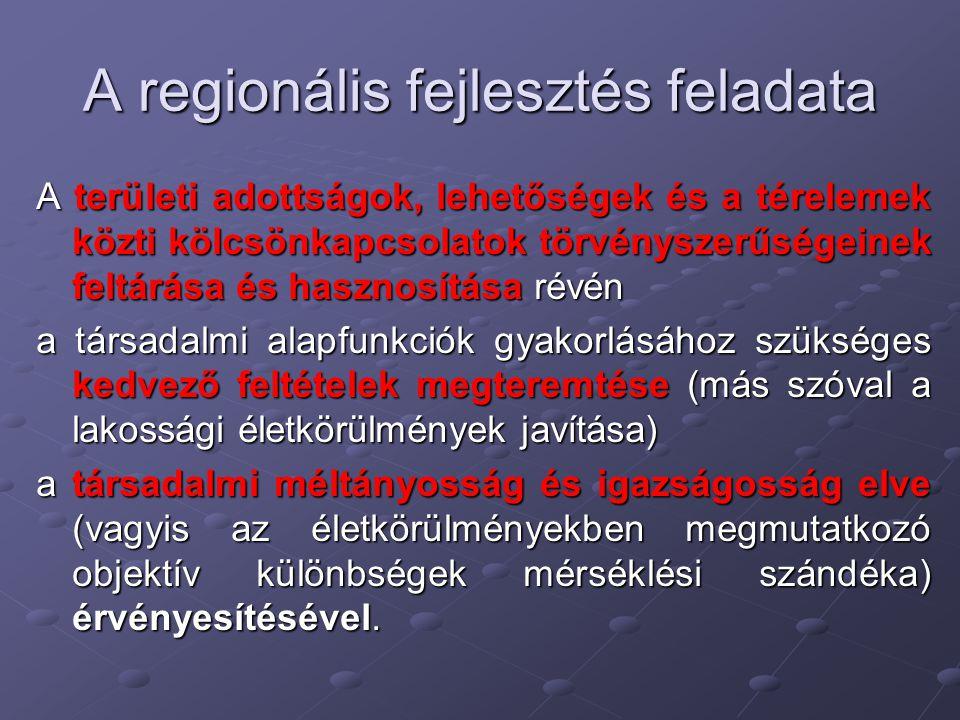 Modern piaci viszonyok között a regionális fejlesztés hosszú távú céljai (FARAGÓ 1987): 1)Munkaalkalmak teremtése, a munkanélküliségi ráták mérséklése 2)A túlnépesedett városközpontokra nehezedő demográfiai nyomás csökkentése 3)A nemzeti erőforrások hatékony hasznosítása 4)A régiók közti indokolatlan fejlettségi különbségek mérséklése 5)A regionális kultúrák és identitás megőrzése, különös tekintettel a nemzeti kisebbségek lakta területekre 6) A népesség és a környezet egyensúlyának a megőrzése, illetve helyreállítása.
