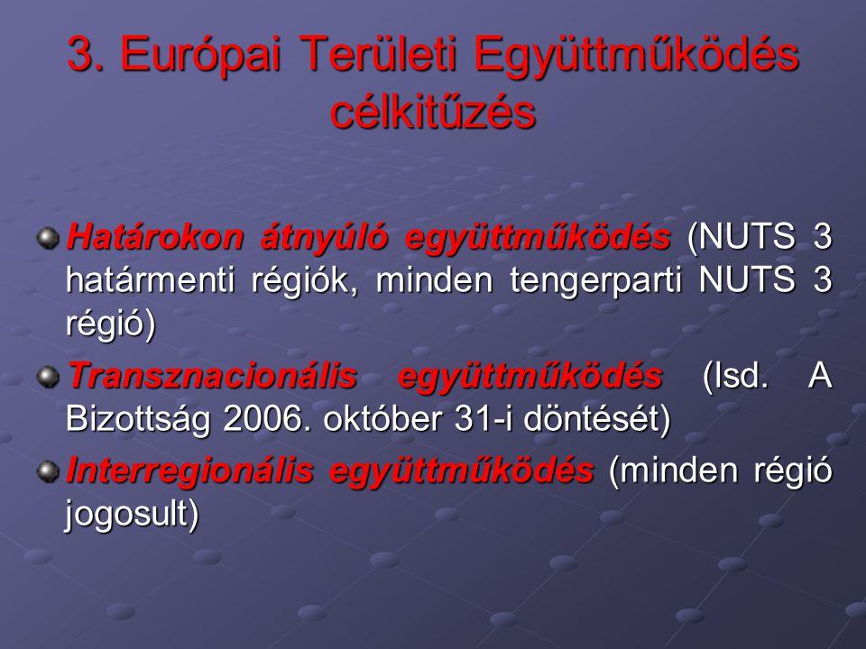 3. Európai Területi Együttműködés célkitűzés Határokon átnyúló együttműködés (NUTS 3 határmenti régiók, minden tengerparti NUTS 3 régió) Transznacioná
