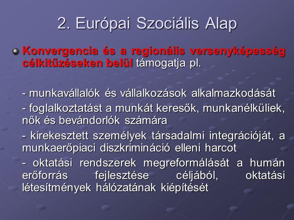 2. Európai Szociális Alap Konvergencia és a regionális versenyképesség célkitűzéseken belül támogatja pl. - munkavállalók és vállalkozások alkalmazkod