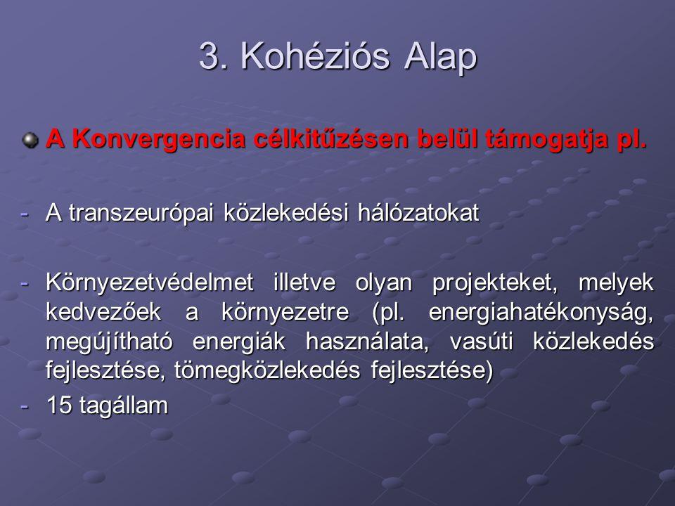 3. Kohéziós Alap A Konvergencia célkitűzésen belül támogatja pl. -A transzeurópai közlekedési hálózatokat -Környezetvédelmet illetve olyan projekteket