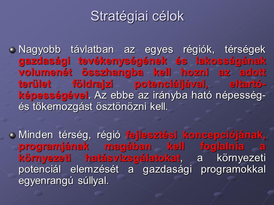 Stratégiai célok Nagyobb távlatban az egyes régiók, térségek gazdasági tevékenységének és lakosságának volumenét összhangba kell hozni az adott terüle