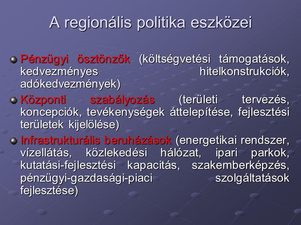 A regionális politika eszközei Pénzügyi ösztönzők (költségvetési támogatások, kedvezményes hitelkonstrukciók, adókedvezmények) Központi szabályozás (t