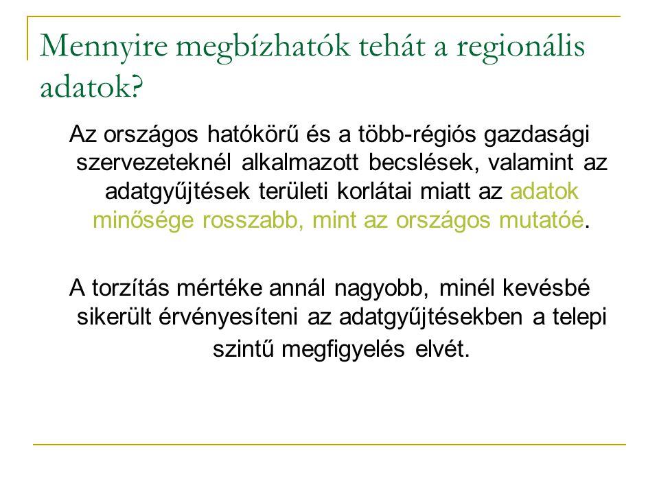 Mennyire megbízhatók tehát a regionális adatok? Az országos hatókörű és a több-régiós gazdasági szervezeteknél alkalmazott becslések, valamint az adat