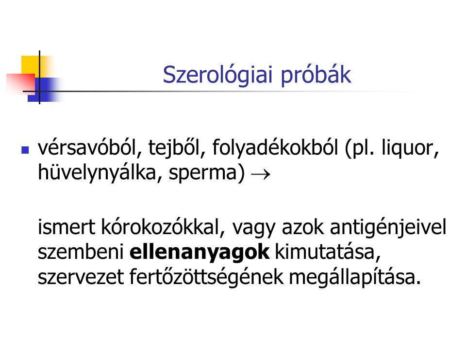 Szerológiai próbák vérsavóból, tejből, folyadékokból (pl.