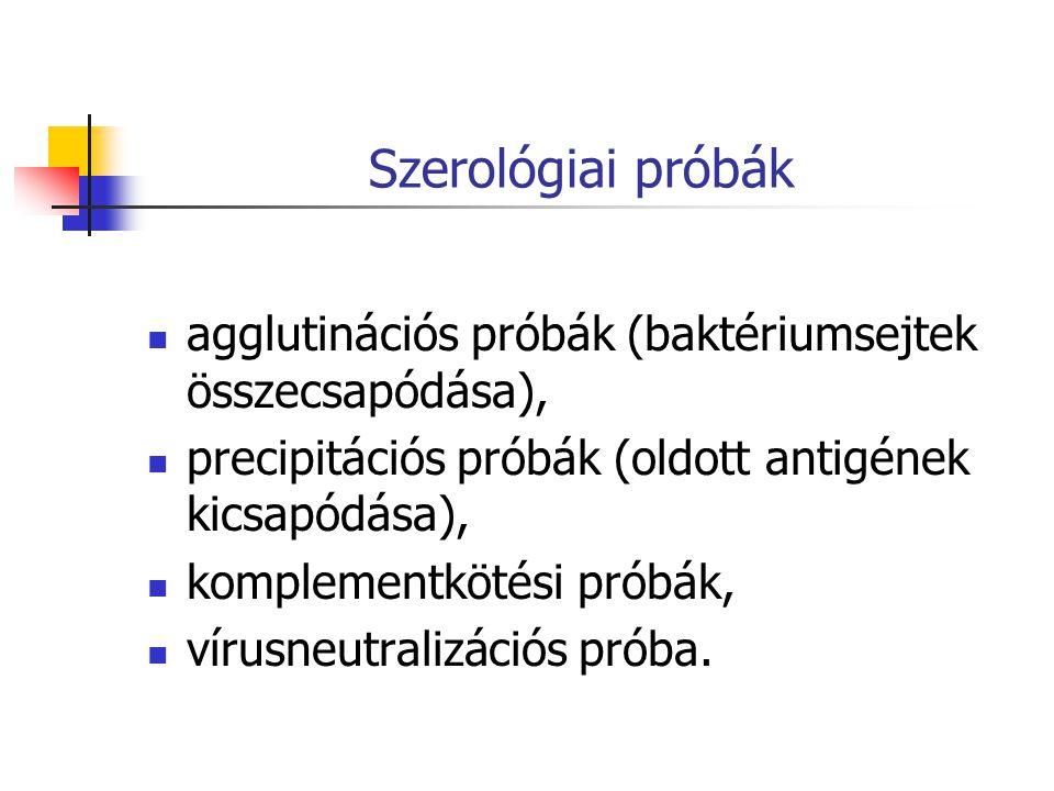 Szerológiai próbák agglutinációs próbák (baktériumsejtek összecsapódása), precipitációs próbák (oldott antigének kicsapódása), komplementkötési próbák, vírusneutralizációs próba.