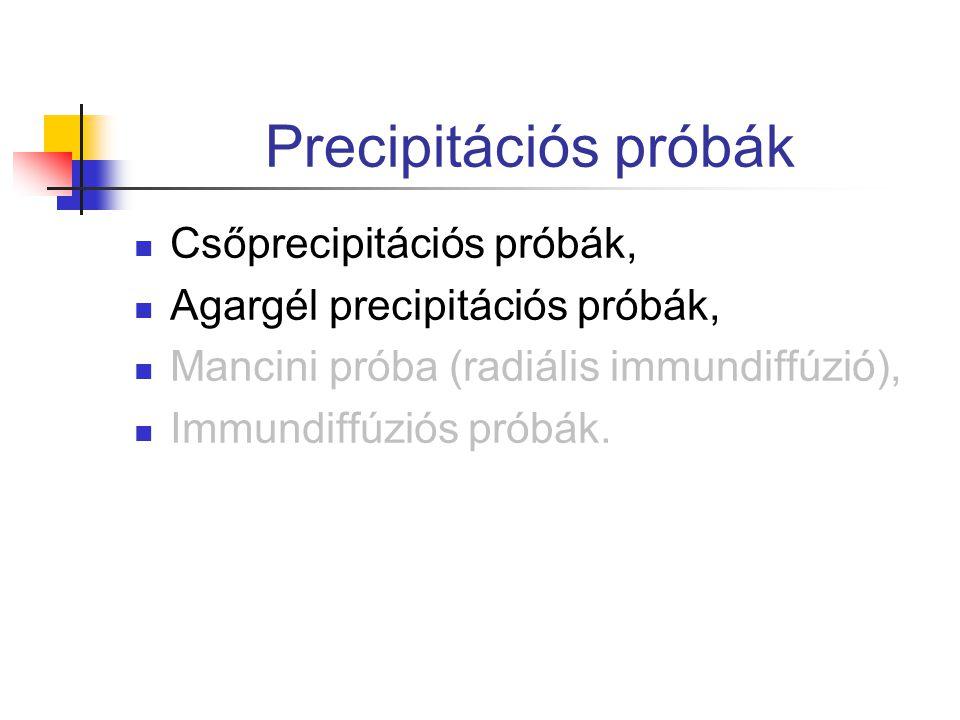 Precipitációs próbák Csőprecipitációs próbák, Agargél precipitációs próbák, Mancini próba (radiális immundiffúzió), Immundiffúziós próbák.