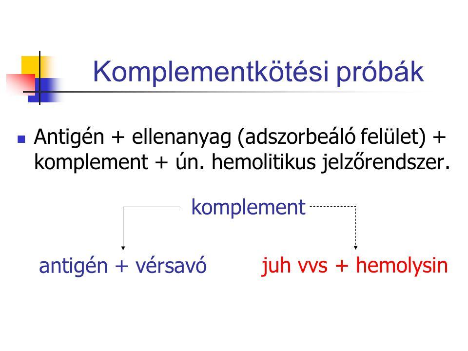Komplementkötési próbák Antigén + ellenanyag (adszorbeáló felület) + komplement + ún.