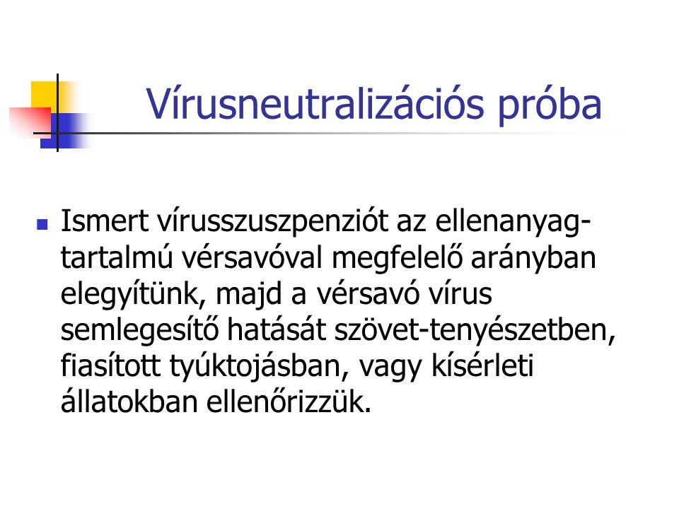 Vírusneutralizációs próba Ismert vírusszuszpenziót az ellenanyag- tartalmú vérsavóval megfelelő arányban elegyítünk, majd a vérsavó vírus semlegesítő hatását szövet-tenyészetben, fiasított tyúktojásban, vagy kísérleti állatokban ellenőrizzük.