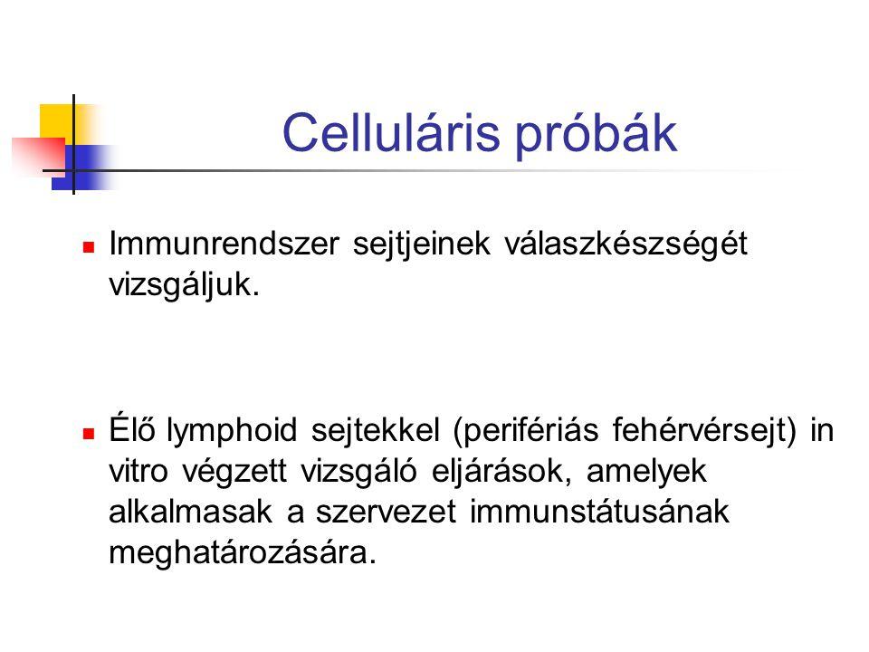 Celluláris próbák Immunrendszer sejtjeinek válaszkészségét vizsgáljuk.