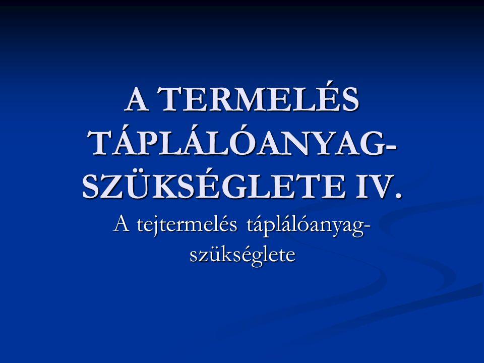 A TERMELÉS TÁPLÁLÓANYAG- SZÜKSÉGLETE IV. A tejtermelés táplálóanyag- szükséglete