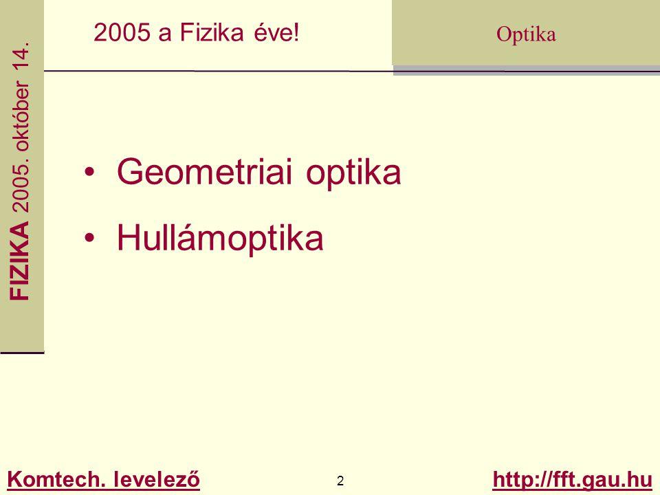 FIZIKA 2005.október 14. Komtech. levelező 13 http://fft.gau.hu Optika 2005 a Fizika éve.