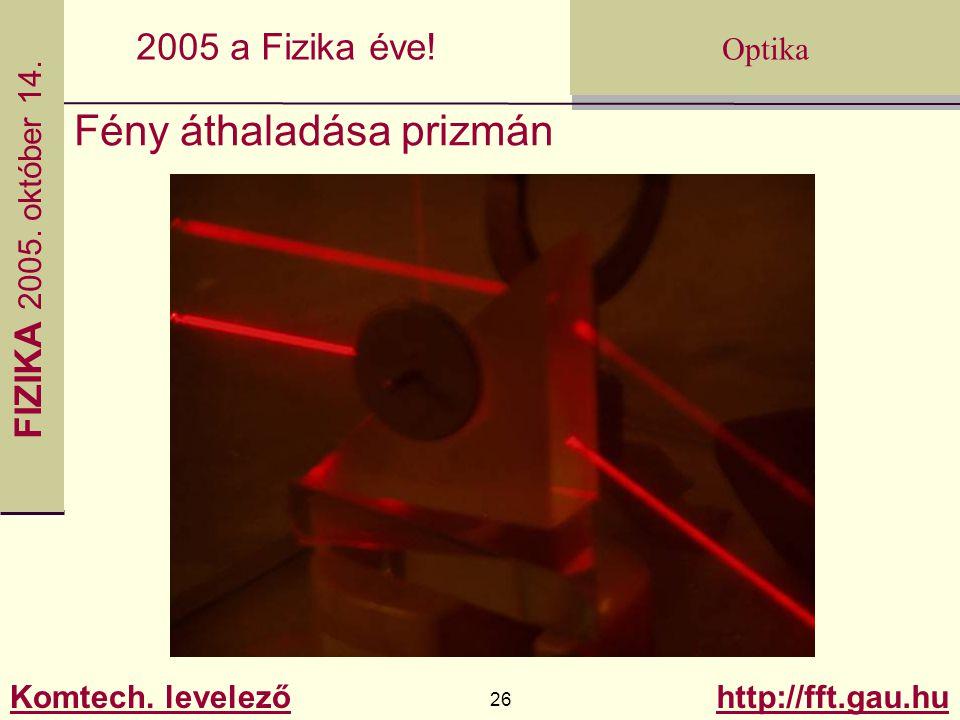 FIZIKA 2005.október 14. Komtech. levelező 26 http://fft.gau.hu Optika 2005 a Fizika éve.