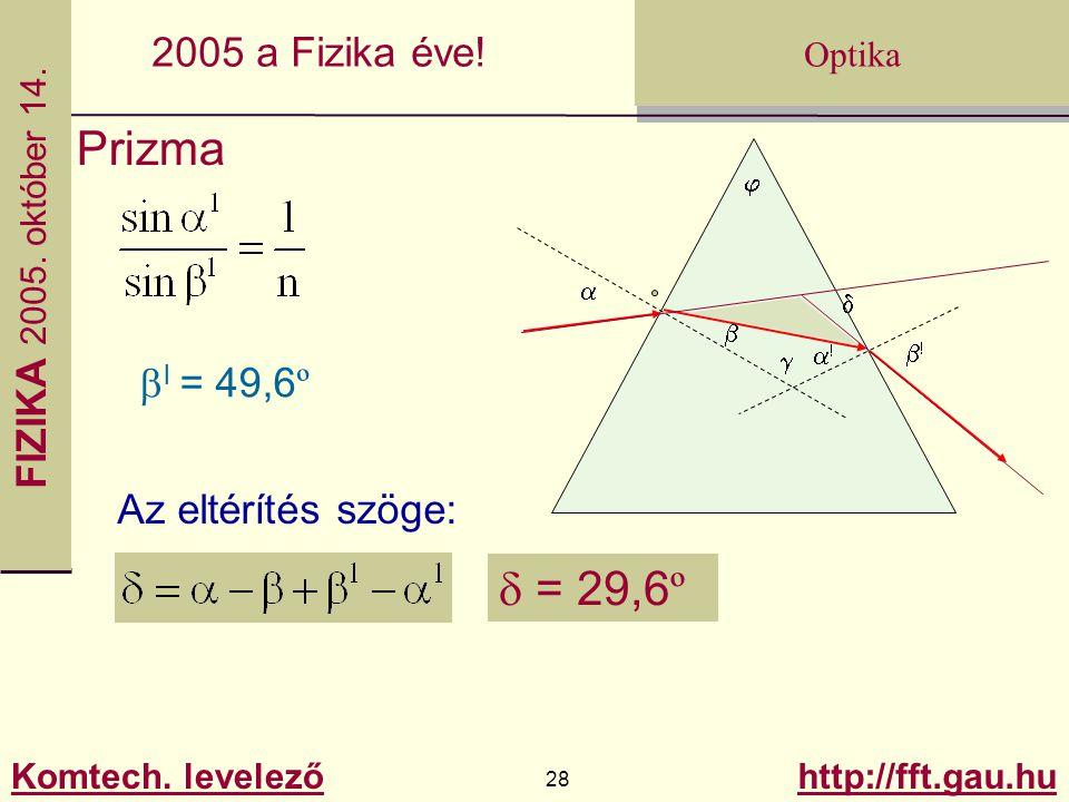 FIZIKA 2005.október 14. Komtech. levelező 28 http://fft.gau.hu Optika 2005 a Fizika éve.