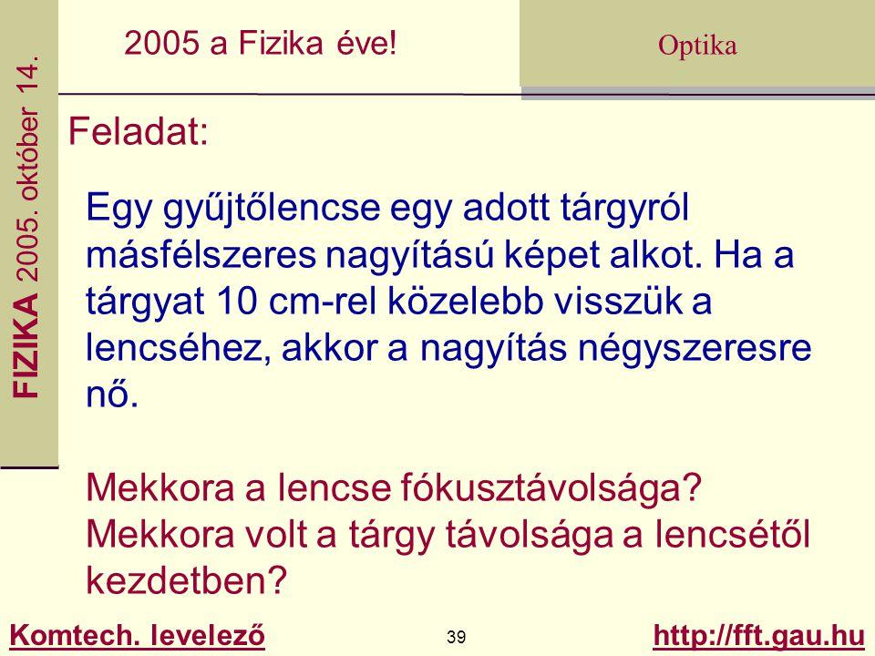 FIZIKA 2005.október 14. Komtech. levelező 39 http://fft.gau.hu Optika 2005 a Fizika éve.
