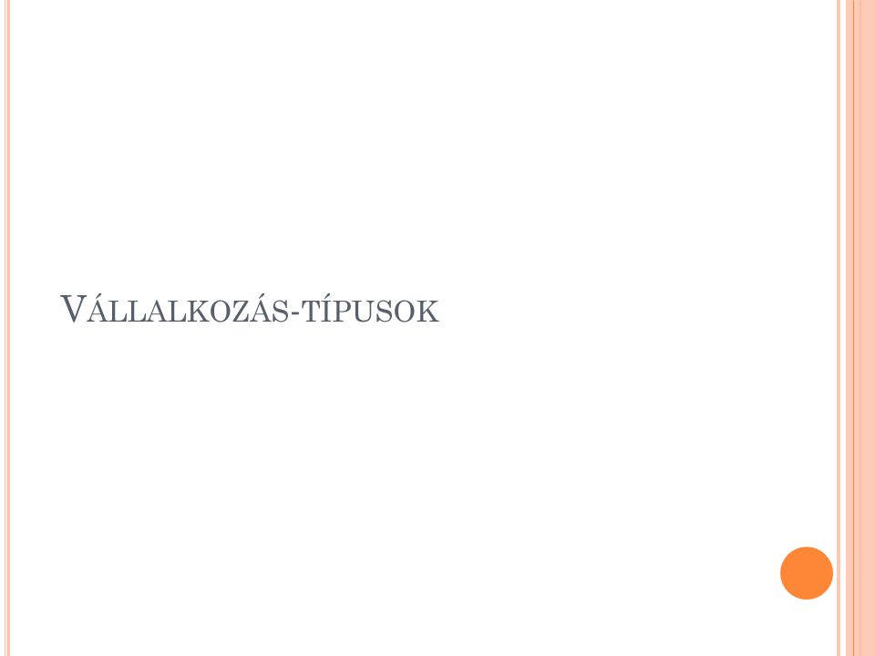 V ÁLLALKOZÁS - TÍPUSOK