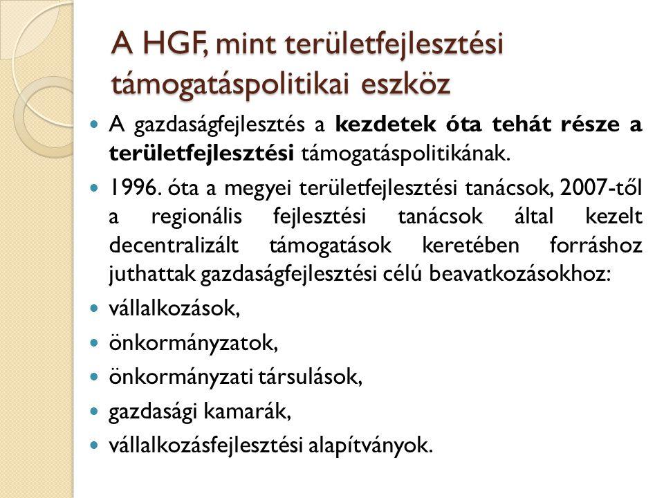 A HGF, mint területfejlesztési támogatáspolitikai eszköz A gazdaságfejlesztés a kezdetek óta tehát része a területfejlesztési támogatáspolitikának. 19