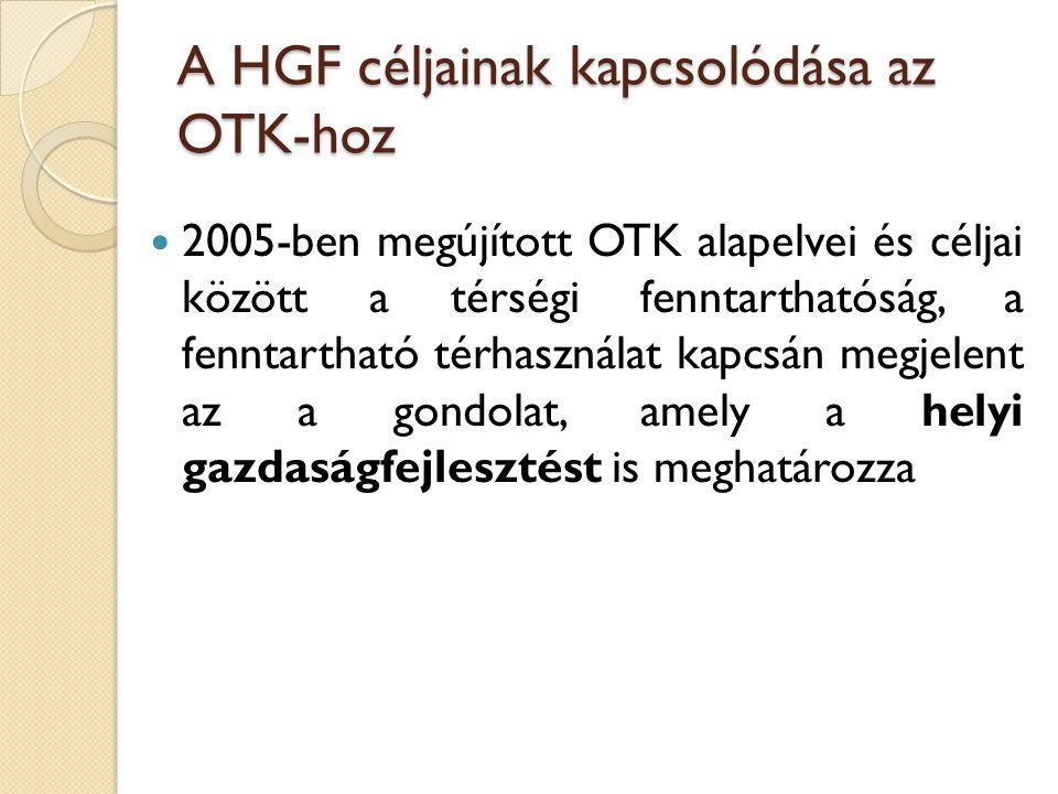 A HGF céljainak kapcsolódása az OTK-hoz 2005-ben megújított OTK alapelvei és céljai között a térségi fenntarthatóság, a fenntartható térhasználat kapc