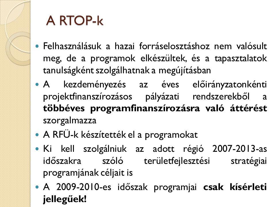 A RTOP-k Felhasználásuk a hazai forráselosztáshoz nem valósult meg, de a programok elkészültek, és a tapasztalatok tanulságként szolgálhatnak a megújí