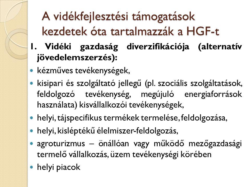 A vidékfejlesztési támogatások kezdetek óta tartalmazzák a HGF-t 1. Vidéki gazdaság diverzifikációja (alternatív jövedelemszerzés): kézműves tevékenys