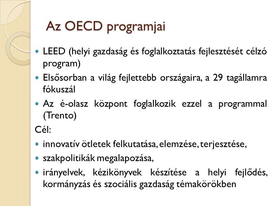 Az OECD programjai LEED (helyi gazdaság és foglalkoztatás fejlesztését célzó program) Elsősorban a világ fejlettebb országaira, a 29 tagállamra fókusz
