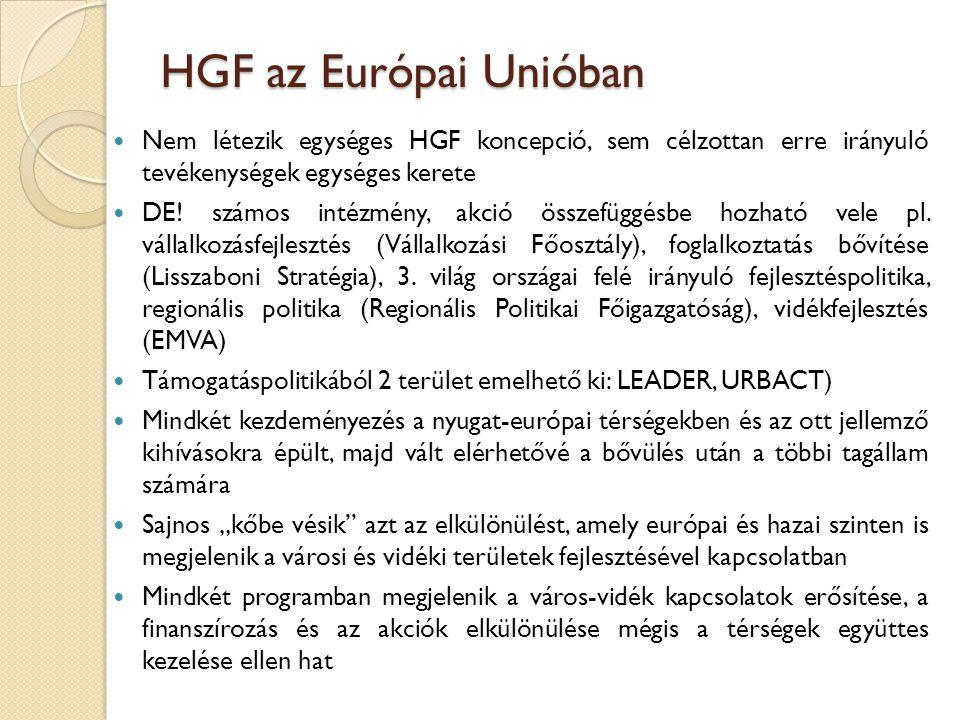 HGF az Európai Unióban Nem létezik egységes HGF koncepció, sem célzottan erre irányuló tevékenységek egységes kerete DE! számos intézmény, akció össze