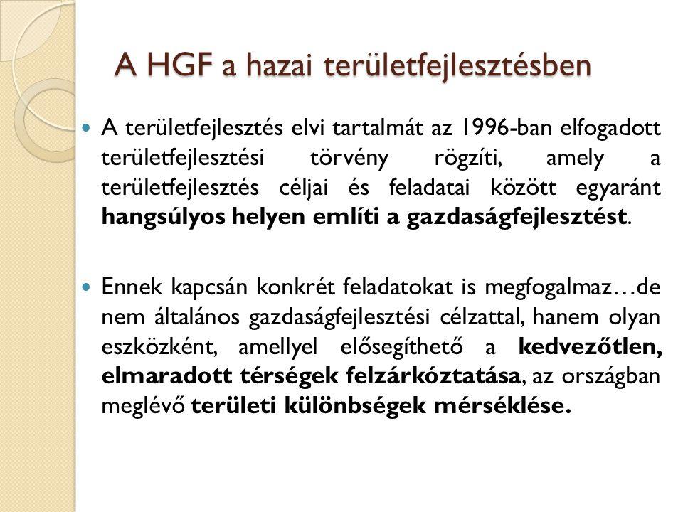 A HGF a hazai területfejlesztésben A területfejlesztés elvi tartalmát az 1996-ban elfogadott területfejlesztési törvény rögzíti, amely a területfejles