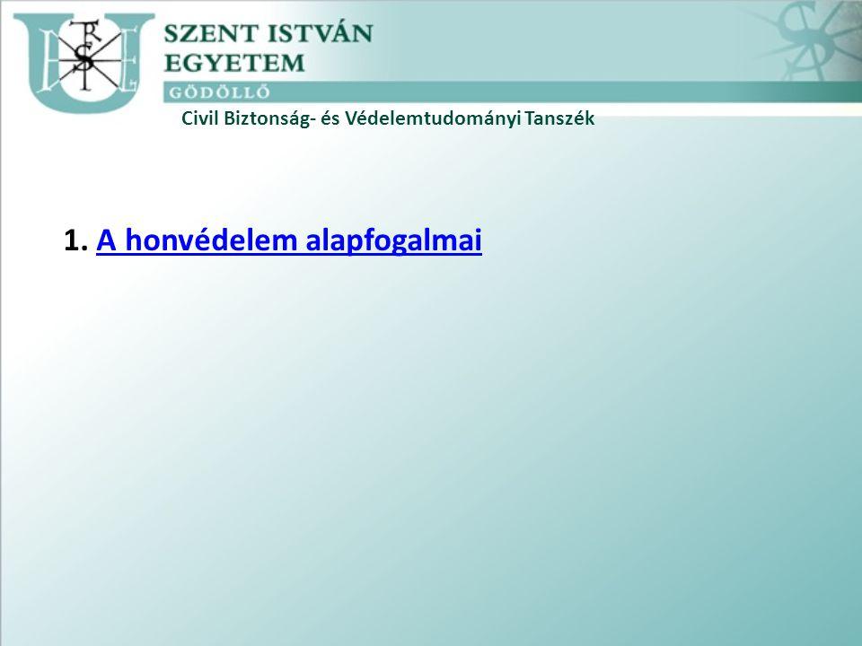 Civil Biztonság- és Védelemtudományi Tanszék 1. A honvédelem alapfogalmaiA honvédelem alapfogalmai