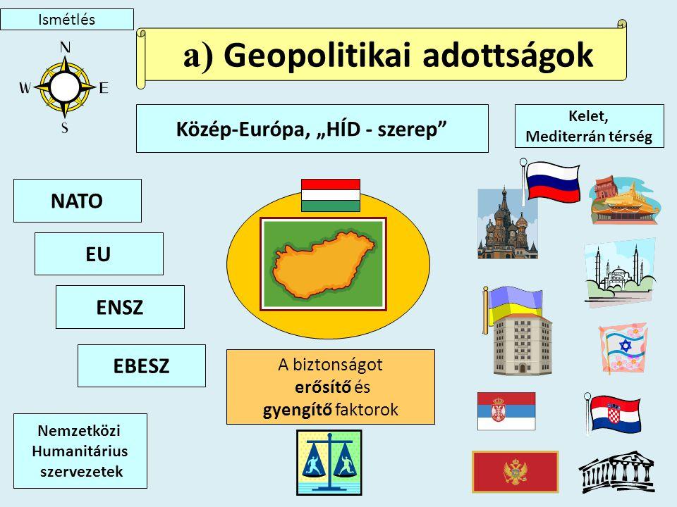 """5 Közép-Európa, """"HÍD - szerep a) Geopolitikai adottságok Kelet, Mediterrán térség ENSZ EU NATO Nemzetközi Humanitárius szervezetek EBESZ A biztonságot erősítő és gyengítő faktorok Ismétlés"""