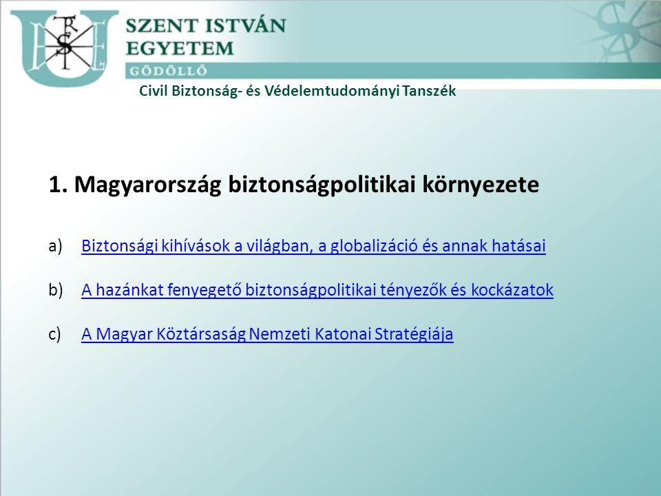 Civil Biztonság- és Védelemtudományi Tanszék 1.
