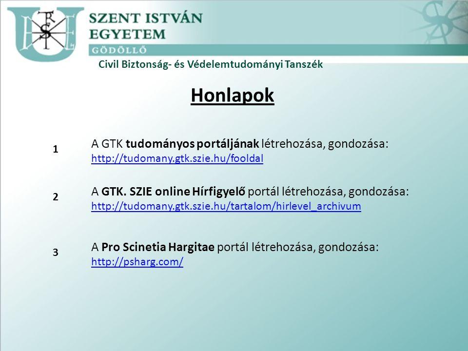 Civil Biztonság- és Védelemtudományi Tanszék Honlapok A GTK tudományos portáljának létrehozása, gondozása: http://tudomany.gtk.szie.hu/fooldal http://tudomany.gtk.szie.hu/fooldal A GTK.