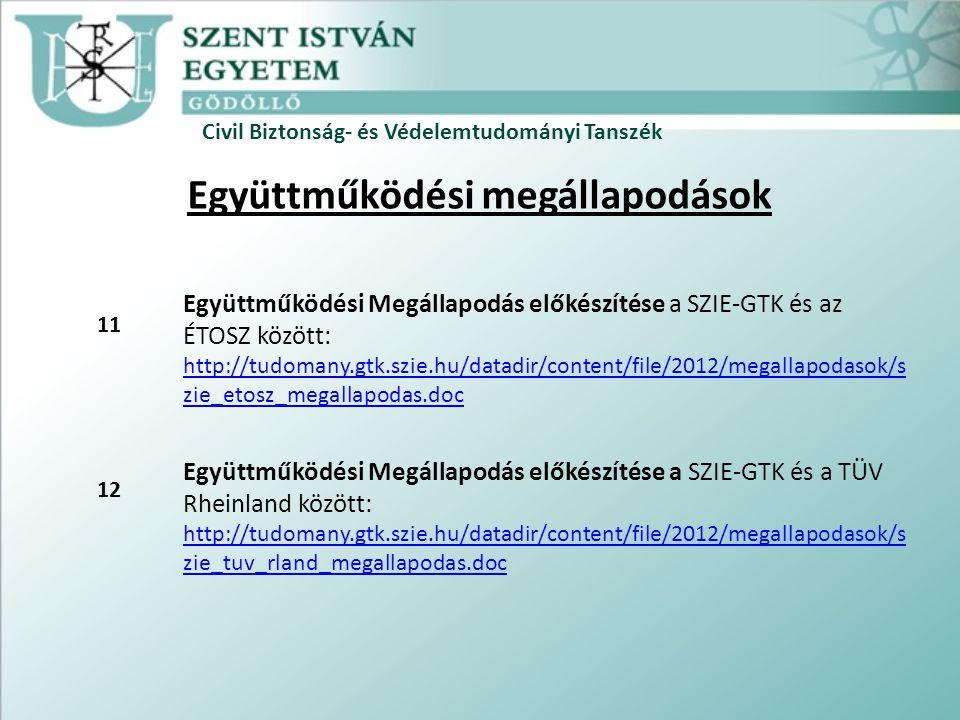 Civil Biztonság- és Védelemtudományi Tanszék Együttműködési megállapodások Együttműködési Megállapodás előkészítése a SZIE-GTK és az ÉTOSZ között: http://tudomany.gtk.szie.hu/datadir/content/file/2012/megallapodasok/s zie_etosz_megallapodas.doc Együttműködési Megállapodás előkészítése a SZIE-GTK és a TÜV Rheinland között: http://tudomany.gtk.szie.hu/datadir/content/file/2012/megallapodasok/s zie_tuv_rland_megallapodas.doc 11 12