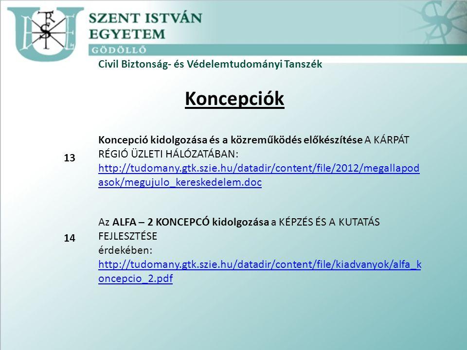 Civil Biztonság- és Védelemtudományi Tanszék Koncepciók Koncepció kidolgozása és a közreműködés előkészítése A KÁRPÁT RÉGIÓ ÜZLETI HÁLÓZATÁBAN: http://tudomany.gtk.szie.hu/datadir/content/file/2012/megallapod asok/megujulo_kereskedelem.doc http://tudomany.gtk.szie.hu/datadir/content/file/2012/megallapod asok/megujulo_kereskedelem.doc Az ALFA – 2 KONCEPCÓ kidolgozása a KÉPZÉS ÉS A KUTATÁS FEJLESZTÉSE érdekében: http://tudomany.gtk.szie.hu/datadir/content/file/kiadvanyok/alfa_k oncepcio_2.pdf http://tudomany.gtk.szie.hu/datadir/content/file/kiadvanyok/alfa_k oncepcio_2.pdf 13 14