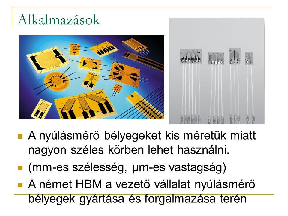 Alkalmazások A nyúlásmérő bélyegeket kis méretük miatt nagyon széles körben lehet használni. (mm-es szélesség, µm-es vastagság) A német HBM a vezető v