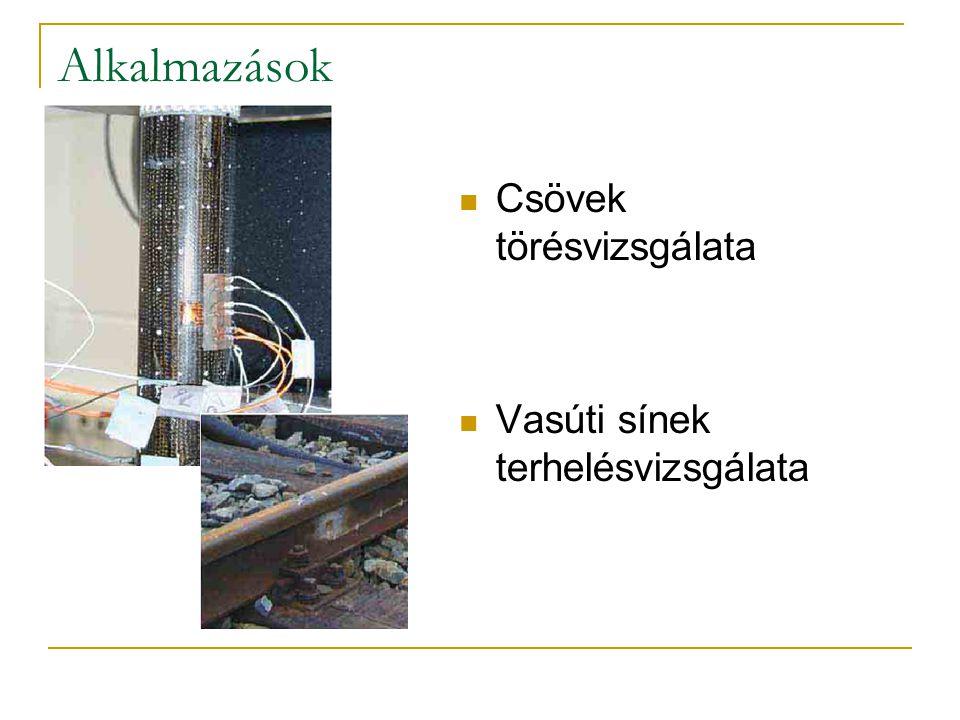 Alkalmazások Csövek törésvizsgálata Vasúti sínek terhelésvizsgálata