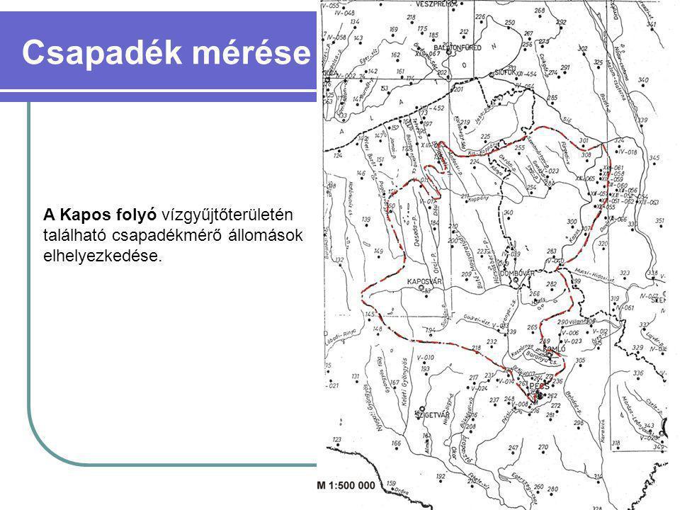 Csapadék mérése A Kapos folyó vízgyűjtőterületén található csapadékmérő állomások elhelyezkedése.