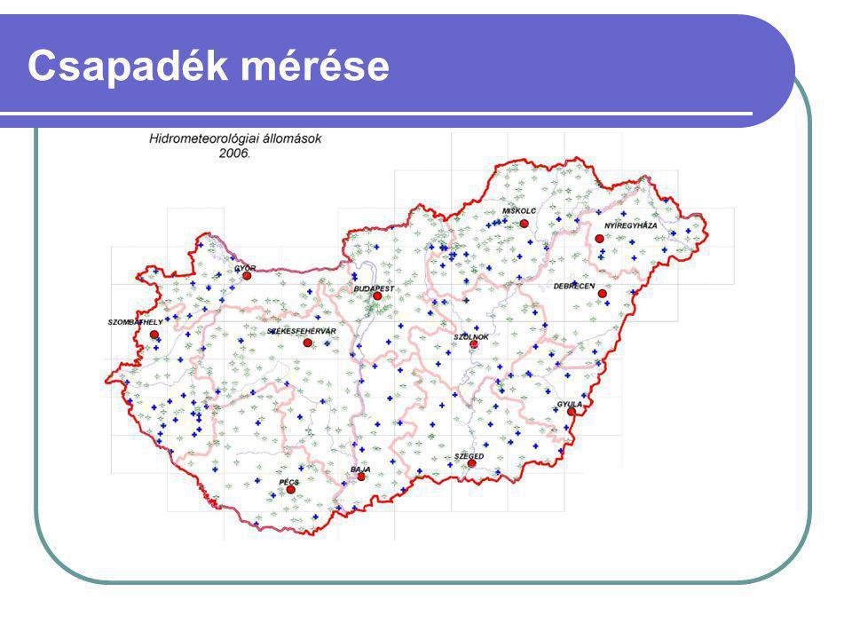 Csapadékmérő elhelyezése: megfelelő hálózati sűrűség, megfelelő hely, földfelszín feletti megfelelő magasság.