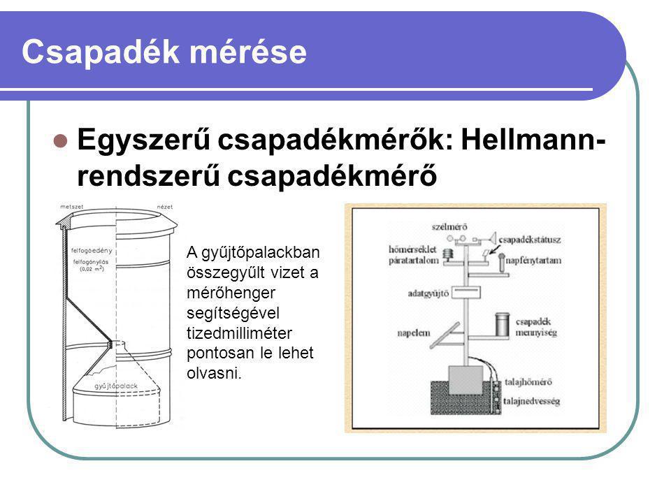 Csapadék mérése Egyszerű csapadékmérők: Hellmann- rendszerű csapadékmérő A gyűjtőpalackban összegyűlt vizet a mérőhenger segítségével tizedmilliméter pontosan le lehet olvasni.